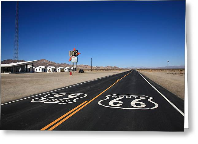 Blacktop Greeting Cards - Route 66 Shield Greeting Card by Frank Romeo