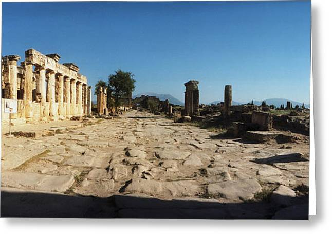 Civilization Greeting Cards - Ruins Of The Roman Town Of Hierapolis Greeting Card by Panoramic Images