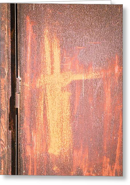 Industrial Background Greeting Cards - Rusty metal Greeting Card by Tom Gowanlock