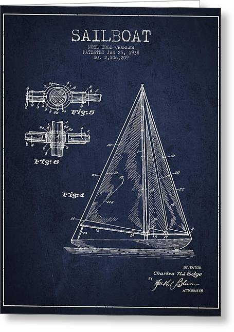 Technical Greeting Cards - Sailboat Patent Drawing From 1938 Greeting Card by Aged Pixel