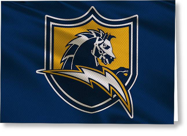 Chargers Greeting Cards - San Diego Chargers Uniform Greeting Card by Joe Hamilton
