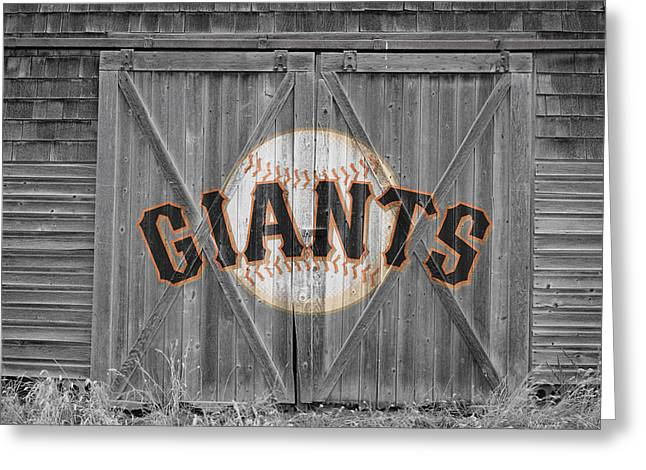 Glove Greeting Cards - San Francisco Giants Greeting Card by Joe Hamilton