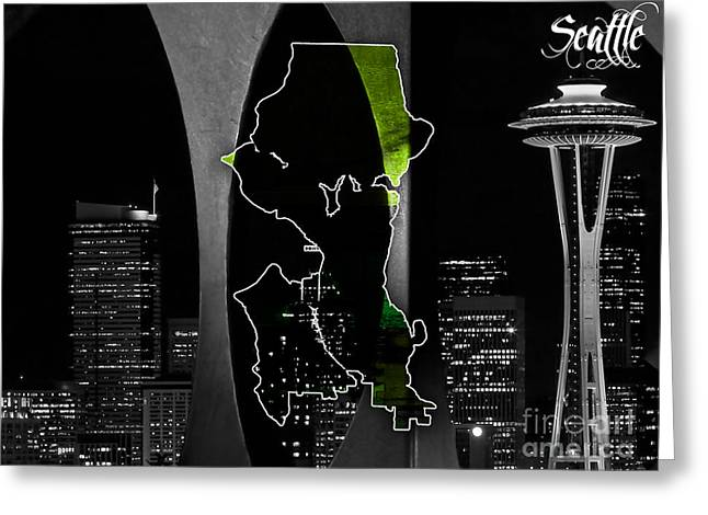 Seattle Skyline Greeting Cards - Seattle Map and Skyline Watercolor Greeting Card by Marvin Blaine