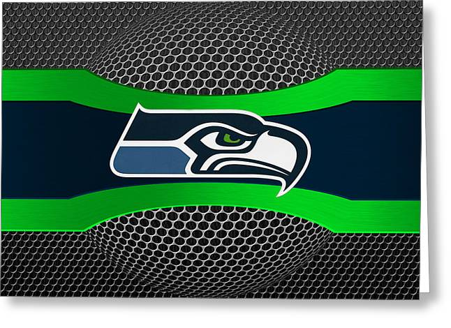 Footballs Greeting Cards - Seattle Seahawks Greeting Card by Joe Hamilton