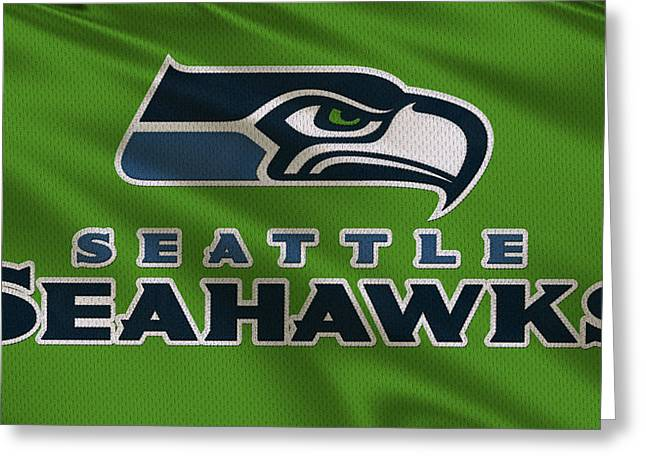 Sports Uniform Greeting Cards - Seattle Seahawks Uniform Greeting Card by Joe Hamilton
