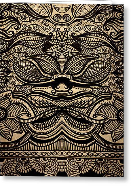 Textured Drawings Greeting Cards - Sharpie on Cardboard Greeting Card by HD Connelly