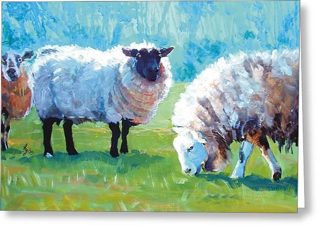 Haze Paintings Greeting Cards - Sheep Greeting Card by Mike Jory
