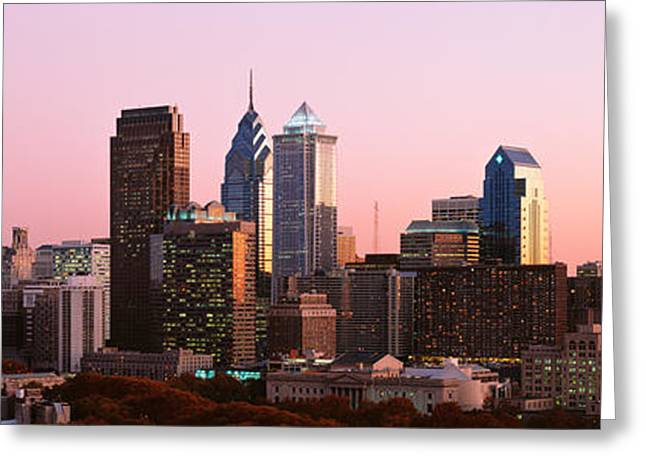 Philadelphia Greeting Cards - Skyscrapers In A City, Philadelphia Greeting Card by Panoramic Images