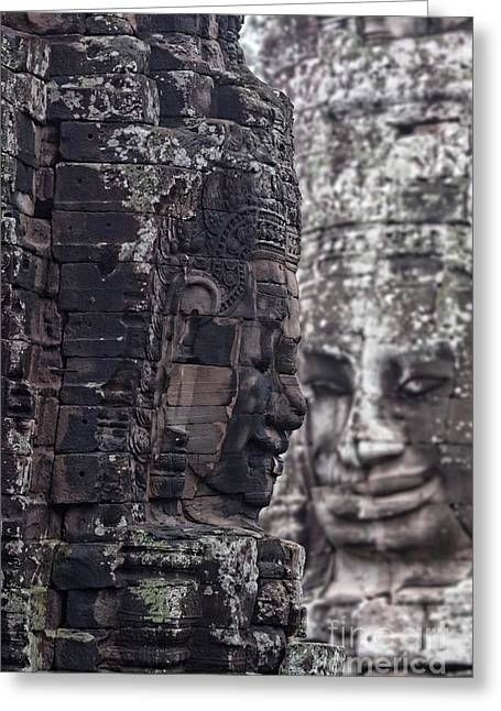 Asien Greeting Cards - Smiling Faces of Bayon Greeting Card by Joerg Lingnau
