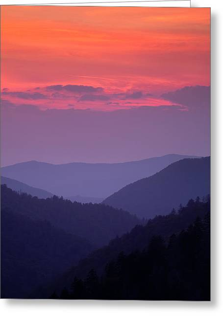 Mountains Greeting Cards - Smoky Mountain Sunset Greeting Card by Andrew Soundarajan