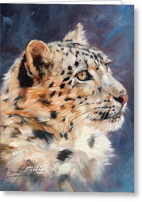 Snow Leopard Greeting Cards - Snow Leopard Greeting Card by David Stribbling