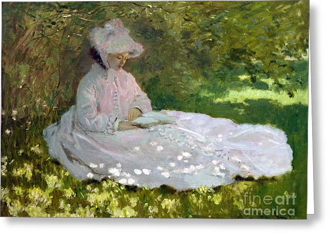Vintage Painter Greeting Cards - Springtime Greeting Card by Claude Monet