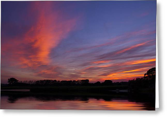 Moonrise Greeting Cards - Stanpit Christchurch Dorset sunset Greeting Card by David French