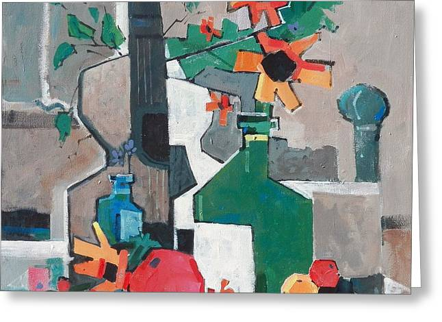 Still Life With A Guitar Greeting Card by Micheal Jones