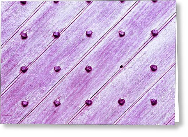 Rivets Greeting Cards - Studded wooden surface Greeting Card by Tom Gowanlock