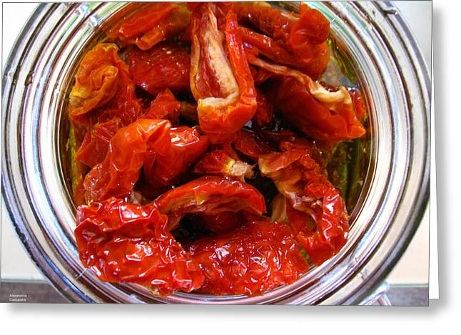 Oil Bucket Greeting Cards - Sun Dried Tomatoes Greeting Card by Alexandros Daskalakis