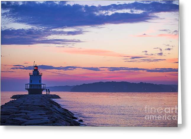 New England Morning Greeting Cards - Sunrise at Spring Point Lighthouse Greeting Card by Diane Diederich