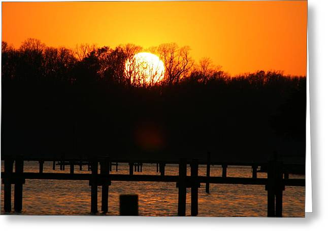 Nature Pyrography Greeting Cards - Sunset Over Chesapeake Bay Greeting Card by Valia Bradshaw