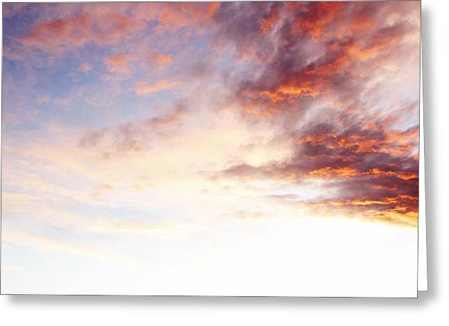 Sunset Abstract Greeting Cards - Sunset sky Greeting Card by Les Cunliffe