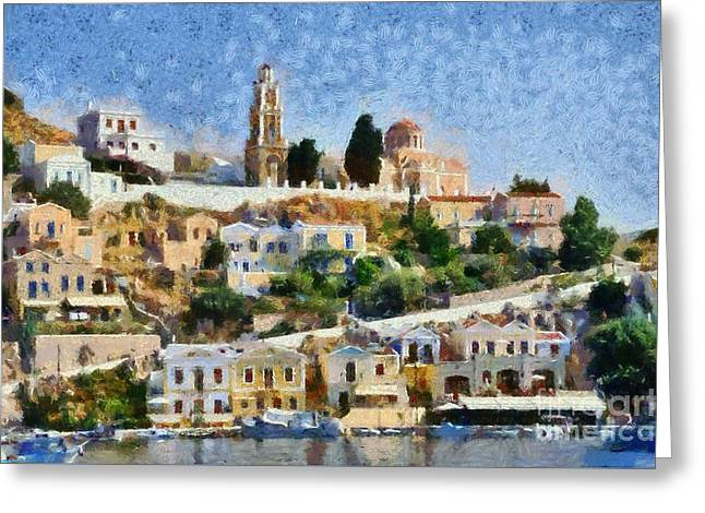 Houses Greeting Cards - Symi island Greeting Card by George Atsametakis
