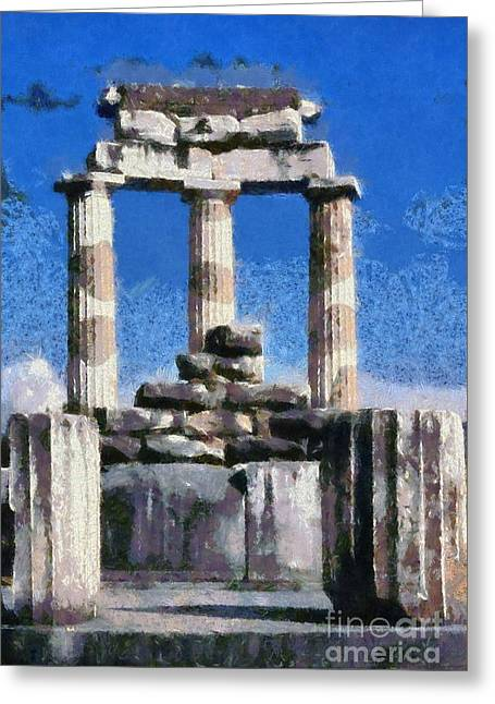 Paint Greeting Cards - Temple of Athena in Delphi Greeting Card by George Atsametakis