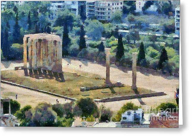 Temple of Olympian Zeus  Greeting Card by George Atsametakis