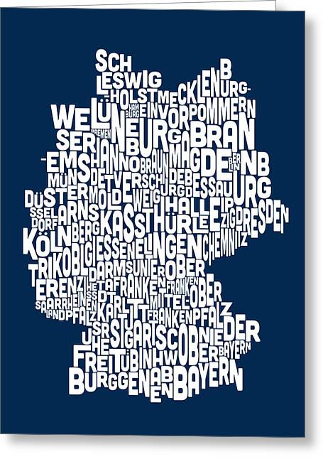 Map Greeting Cards - Text Map of Germany Map Greeting Card by Michael Tompsett