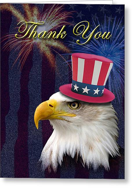 4th July Digital Greeting Cards - Thank You Eagle Greeting Card by Jeanette K