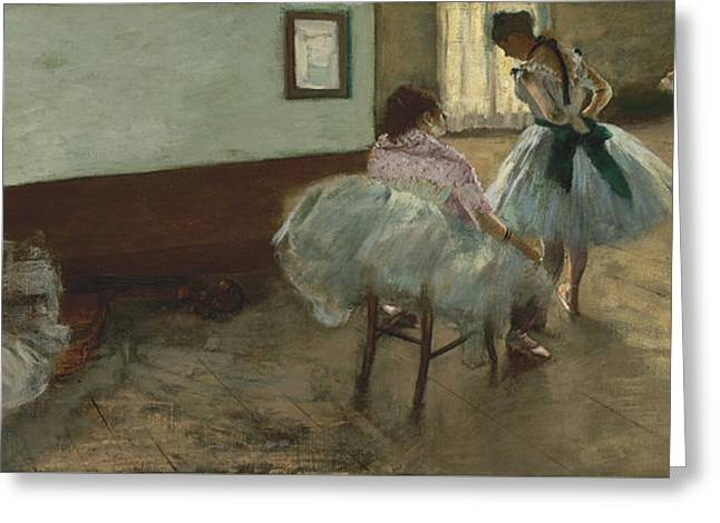 Pink Tutu Greeting Cards - The Dance Lesson Greeting Card by Edgar Degas