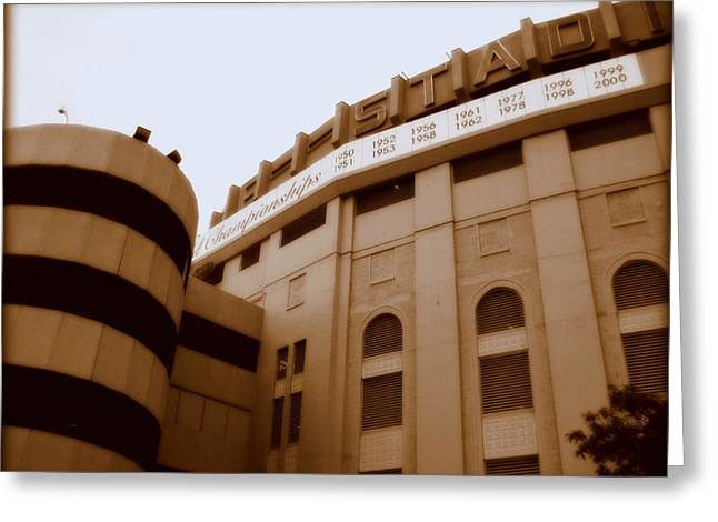 Baseball Stadiums Greeting Cards - The House That Ruth Built Greeting Card by Aurelio Zucco
