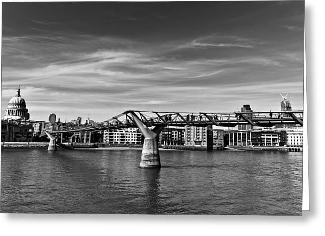 Catherdral Greeting Cards - The Millennium Bridge Greeting Card by David Pyatt