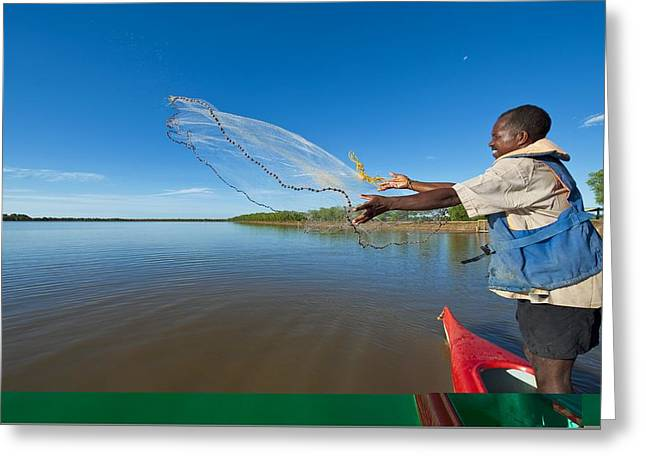 Prawn Boat Greeting Cards - Tiger prawn farming, Madagascar Greeting Card by Science Photo Library