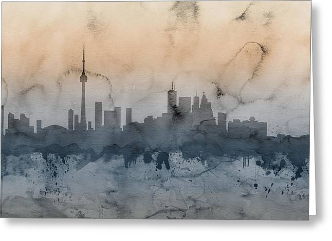 Canadian Greeting Cards - Toronto Canada Skyline Greeting Card by Michael Tompsett