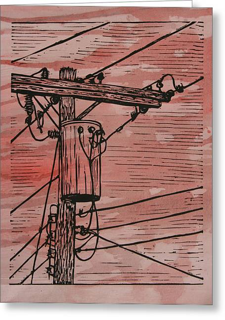 Linocut Linoluem Greeting Cards - Transformer Greeting Card by William Cauthern