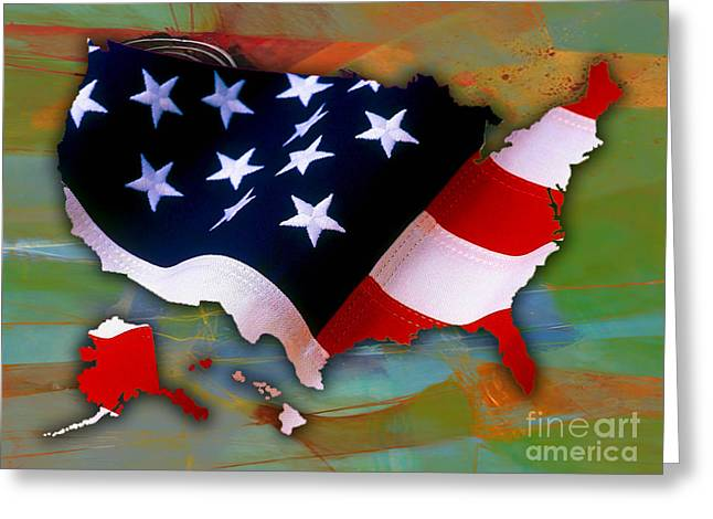 United States Map Greeting Card by Marvin Blaine