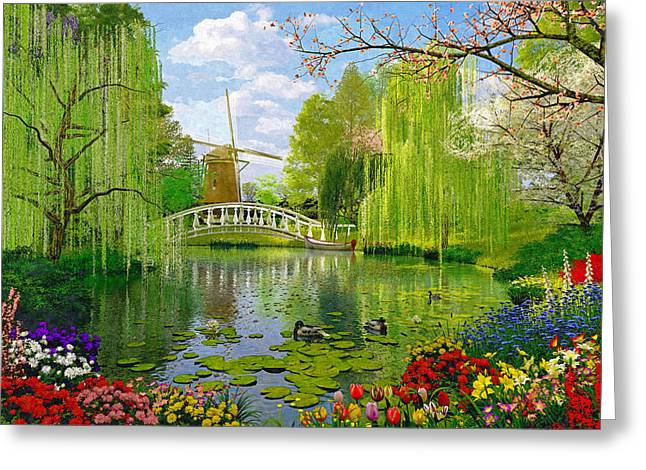 Willow Lake Greeting Cards - Windmill Lake Greeting Card by Dominic Davison