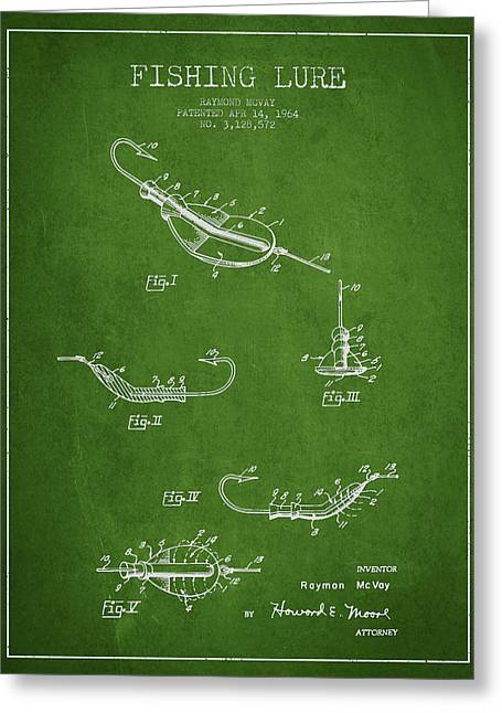 Tackle Greeting Cards - Vintage Fishing Lure Patent Drawing from 1964 Greeting Card by Aged Pixel