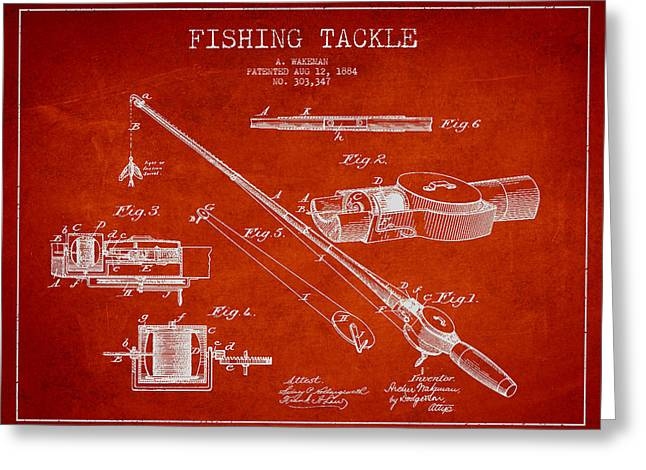 Tackle Digital Greeting Cards - Vintage Fishing Tackle Patent Drawing from 1884 Greeting Card by Aged Pixel
