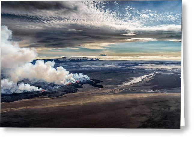 Field. Cloud Greeting Cards - Volcano Eruption At The Holuhraun Greeting Card by Panoramic Images
