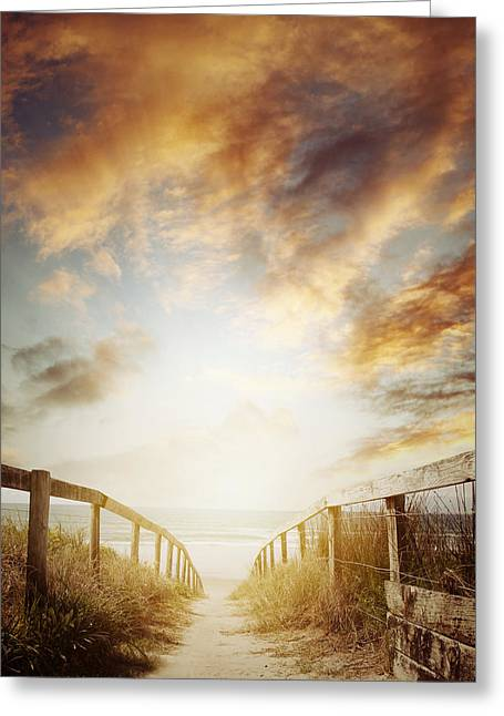 Beach Photos Greeting Cards - Walkway Greeting Card by Les Cunliffe