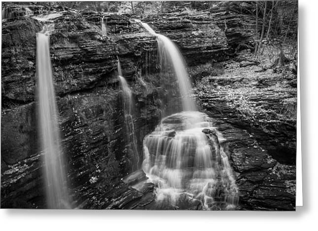 Dingmans Falls Greeting Cards - Waterfalls George W Childs National Park Painted BW   Greeting Card by Rich Franco