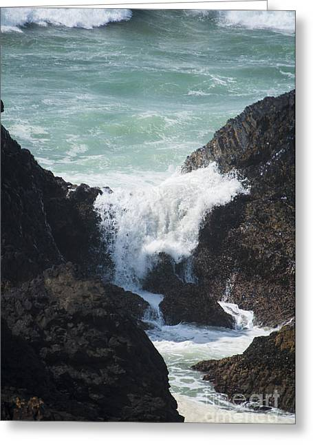 Sea Greeting Cards - Waves on Rocks Greeting Card by Mandy Judson