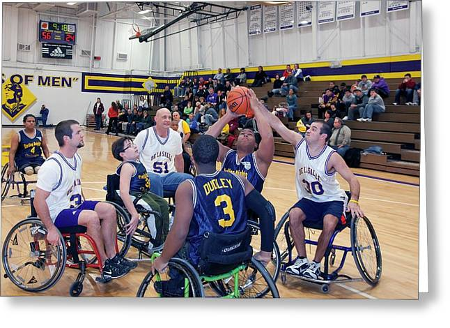 Wheelchair Basketball Greeting Card by Jim West