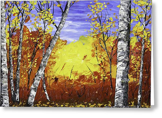 Deciduous Greeting Cards - White Birch Tree Abstract Painting In Autumn Greeting Card by Keith Webber Jr