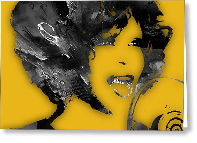 Icon Greeting Cards - Whitney Houston Collection Greeting Card by Marvin Blaine