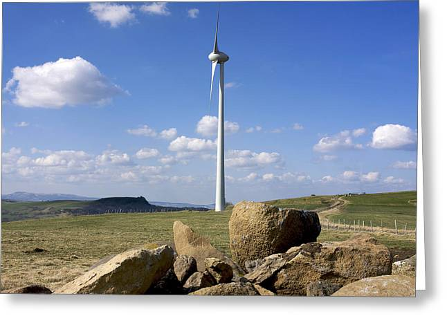 Eco Friendly Greeting Cards - Wind turbine Greeting Card by Bernard Jaubert
