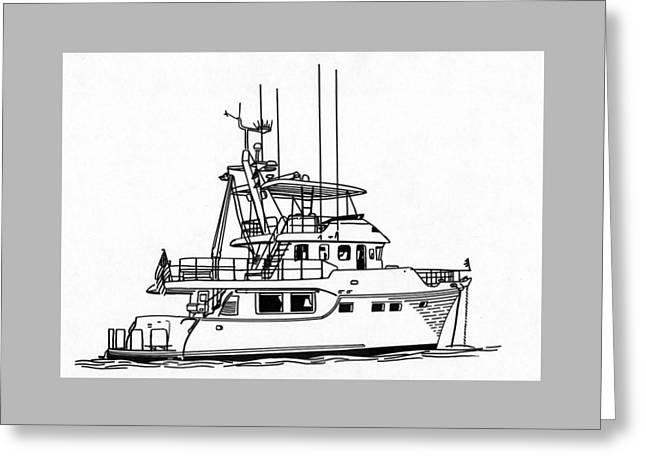 Many Drawings Greeting Cards - 60 Foot Nordhav Grand Yacht Greeting Card by Jack Pumphrey