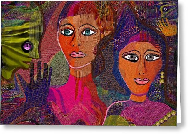 Forceful Greeting Cards - 608 - Two Women Siena ... Greeting Card by Irmgard Schoendorf Welch