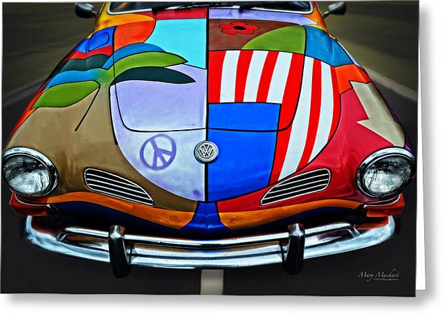 Peter Max Greeting Cards - 60s Wild Ride Greeting Card by Mary Machare