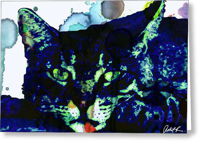 60x45 Blue Cat Blues - - Huge Signed Art Abstract Paintings Modern www.splashyartist.com Greeting Card by Robert R Abstract Paintings